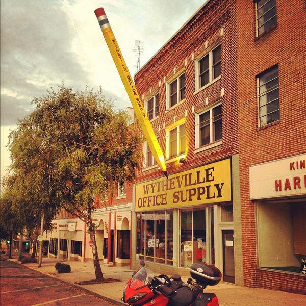 Big pencil in Wytheville Virginia