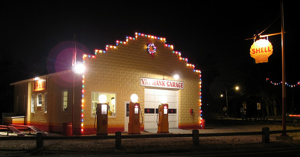 The Yaphank Garage Dressed for Christmas