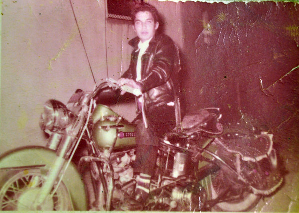 My Dad on his 1950 Harley Davidson