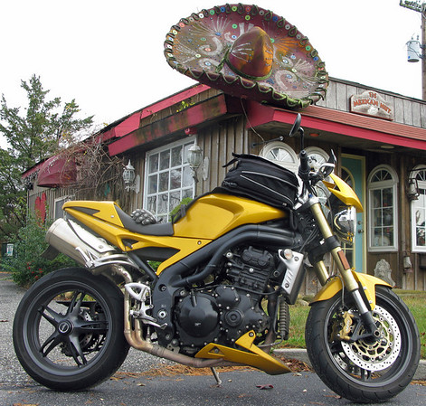 Triumph Speed Triple and a giant Sombrero