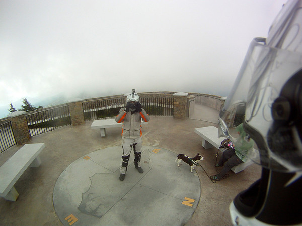 Standing in the clouds at Mount Mitchell
