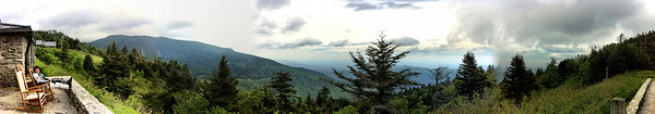 Sitting on the deck at Mount Mitchell