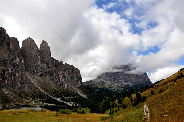 Dolomite Mountains along Gardena Pass