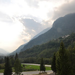 The view from our hotel in Vicosoprano Switzerland