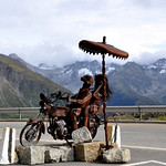 Motorcycle sculpture at the top of Grimsel pass