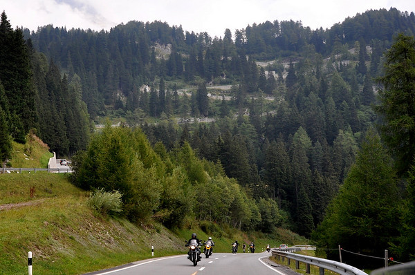 Group of BMWs heading up the Maloja Pass