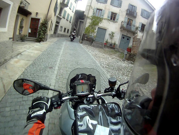 Riding through a small Swiss town