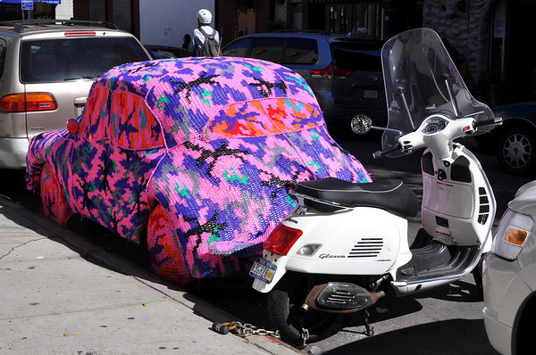 Olek's Crochet Covered Car on Henry Street