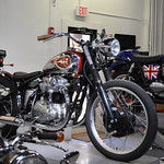 BSA powered by W650 on lift 20th Century Cycles
