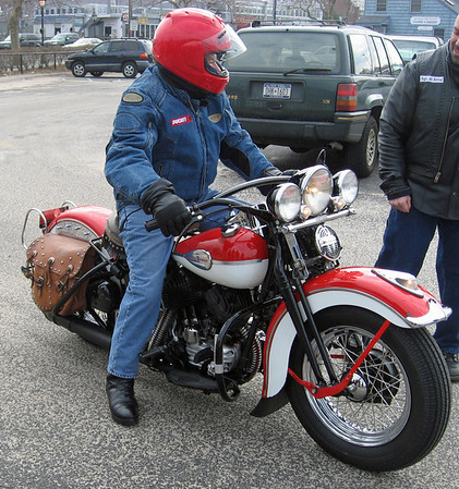 Gino on his 1945 Harley-Davidson
