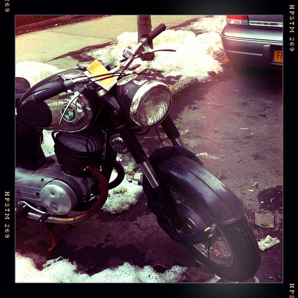 Puch motorcycle parked in New York City