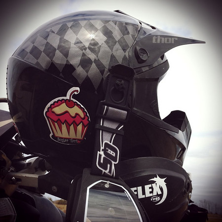 Dirt Helmet Cupcake Sticker