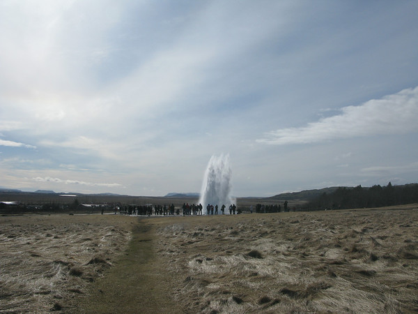 Erupting Geysir in the town of Geysir Iceland