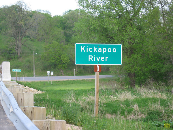 The Kickapoo River sign in Wisconsin