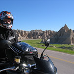 Kenny on his Triumph in Badlands National Park South Dakota