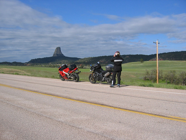 Our first glimpse of Devils Tower National Monument