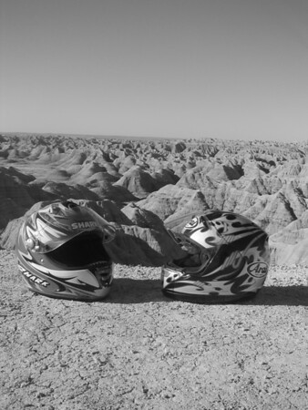 Our helmets at Badlands National Park
