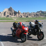 ZX6R and Triumph Speed Triple at Badlands National Park South Dakota