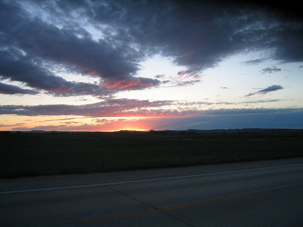 Setting sun near Belle Fourche South Dakota