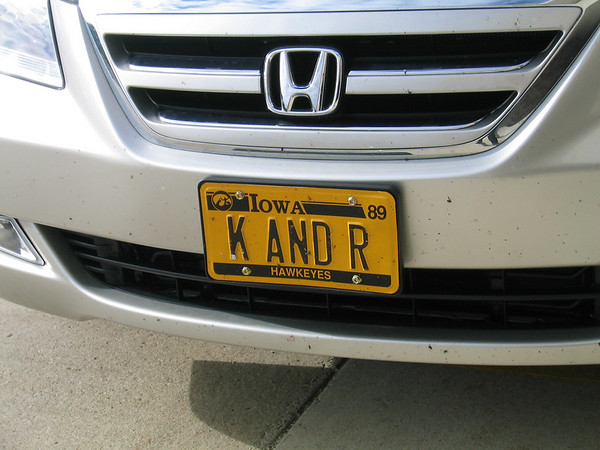 License plate with K and R on it