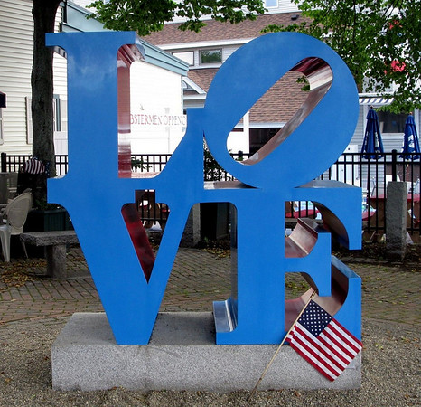 Robert Indiana LOVE sculpture in Rockland Maine