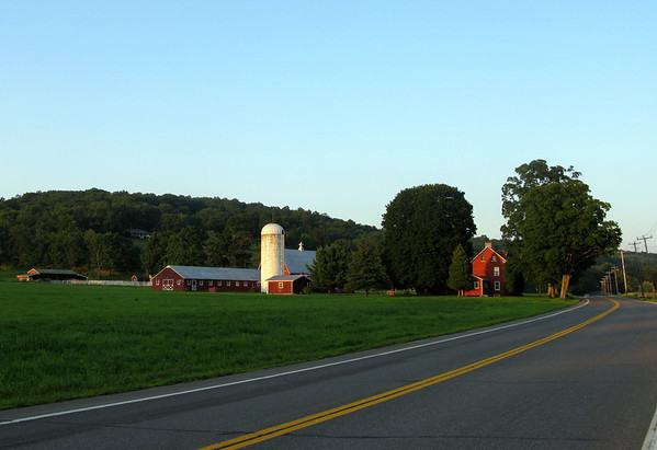 Classic red farm buildings in Columbia County, New York