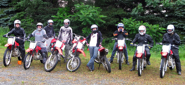 The gang who took the intro to dirtbike riding class with Planet Dirt -Fuzzygalore.com - Girlie Motorcycle Blog
