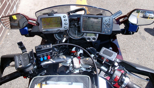 The dashboard of Catfish's 2009 Iron Butt Rally Yamaha FJR