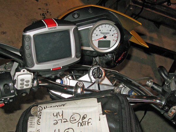 Triumph Speed Triple with a Zumo 450 GPS