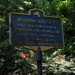 The Moodna Viaduct informational sign in Salisbury Mills, NY
