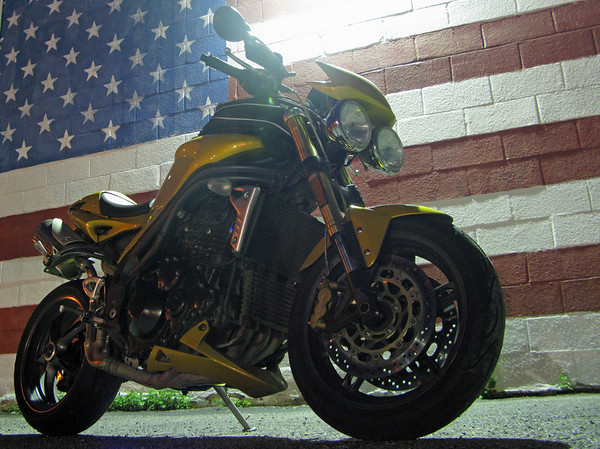Triumph Speed Triple and American Flag Mural