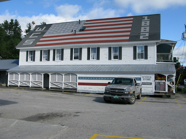 Vermont General Store on Route 100 with Flag on the roof