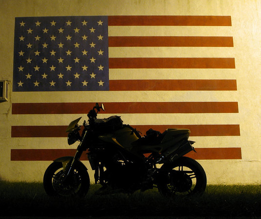 American Flag  mural on Long Island and Triumph Speed Triple