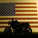 Triumph Speed Triple and Flag Mural