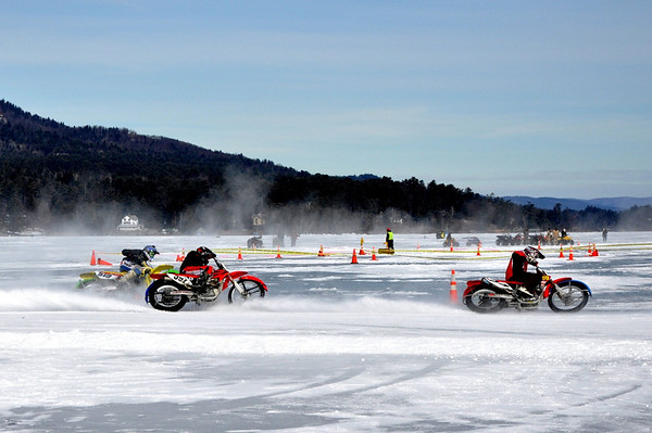 Gettin down on Lake George - Motorcycle Ice Racing