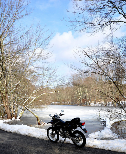 Suzuki DRZ 400 Motorcycle Frozen Lake