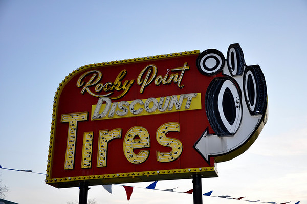Rocky Point Tires Neon Sign - Roadside Galore