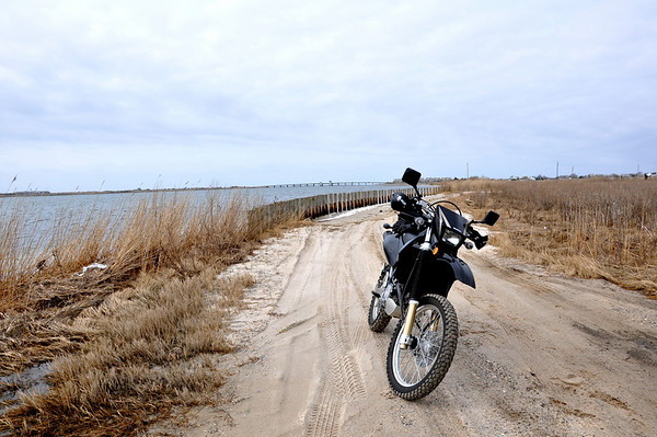 Suzuki DRZ Dualsport Motorcycle On Sandy Long Island