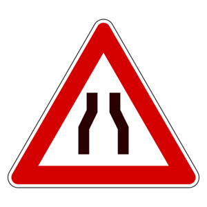 Italian Road Narrows Sign
