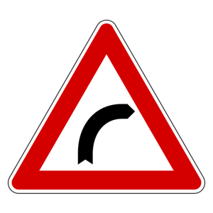 Italian road sign right bend