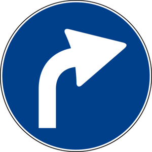 Italian Road Sign  Right Turn Ahead