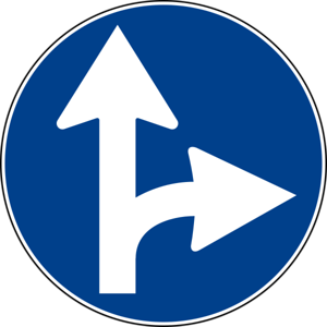 Italian Road Sign Keep Straight of Right Turn