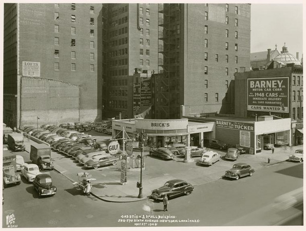 Brick's Gulf Gas Station Sixth Avenue Manhattan 1948