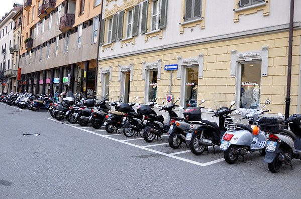 Scooter parking in Lake Como Italy