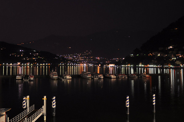 Lake Como from our balcony at night