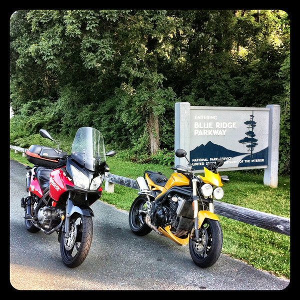 Weestrom and Speed Triple - Blue Ridge Parkway Sign
