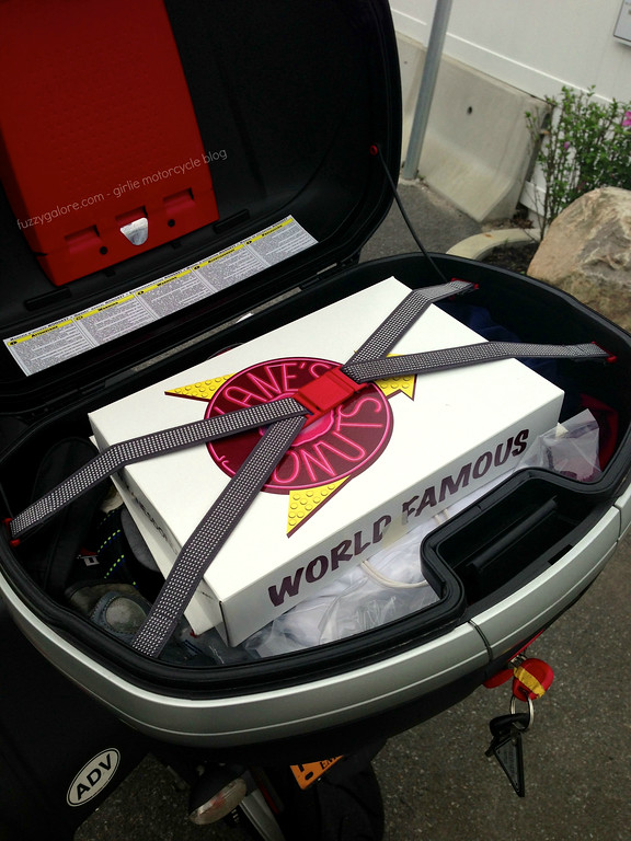 Kanes Donuts in my Givi Box