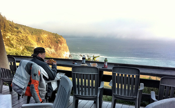 Eating lunch at lucia lodge big sur