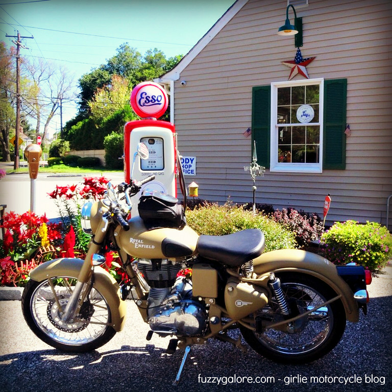 royal enfield with old esso pump
