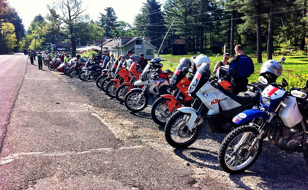Bikes lined up for the ride